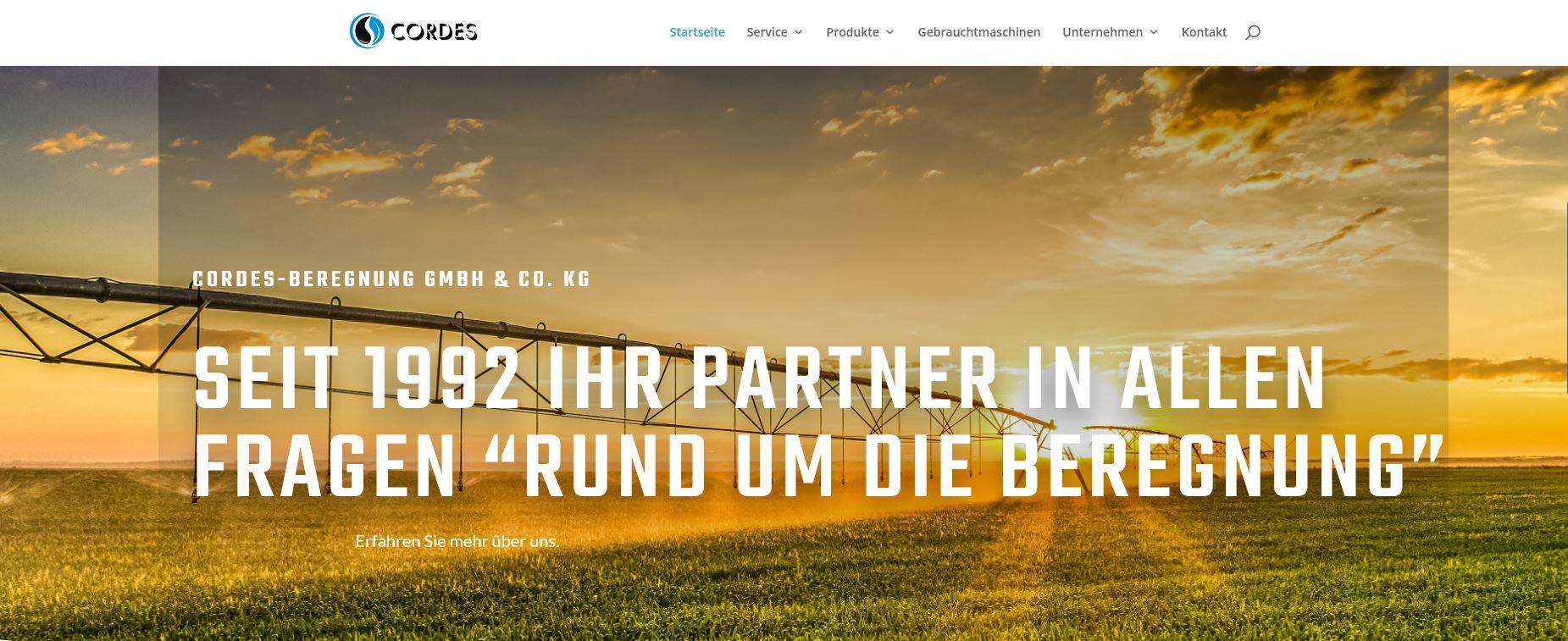 Banner der Startseite der Cordes-Beregnung GmbH & Co. KG Homepage